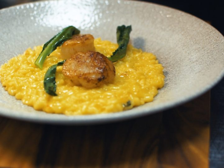 SAFFRON & PRESERVED LEMON RISOTTO with ras el hanout scallops